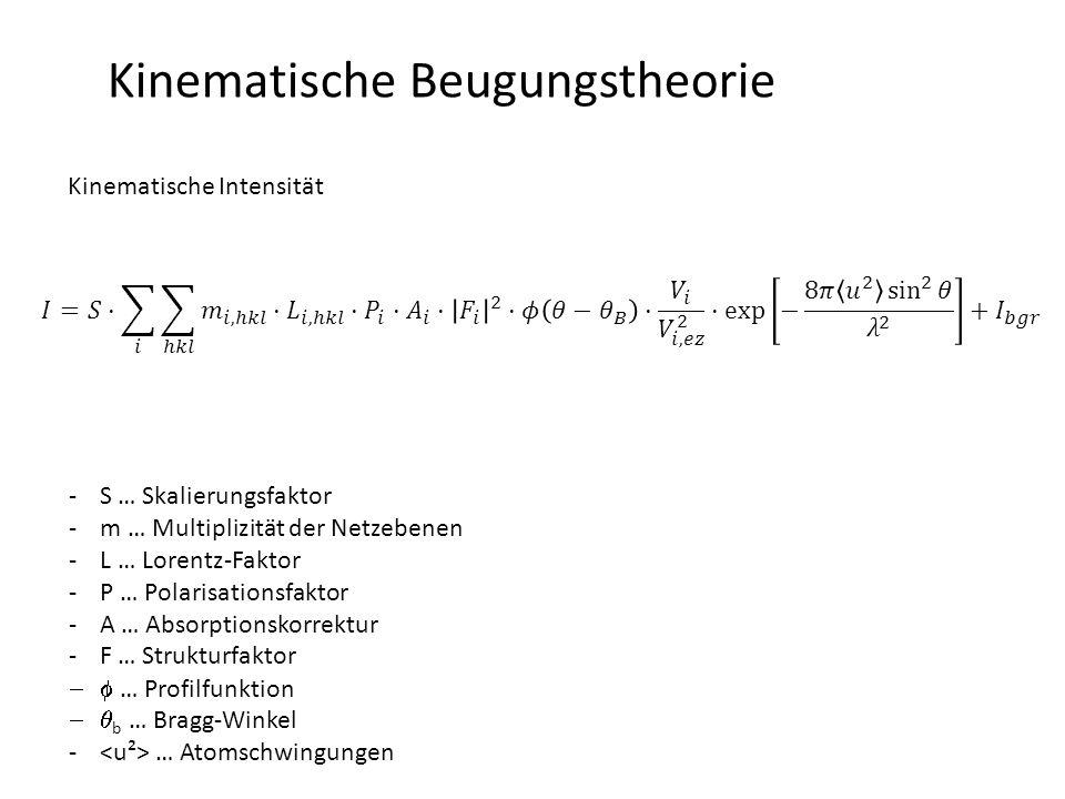 Kinematische Beugungstheorie Kinematische Intensität -S … Skalierungsfaktor -m … Multiplizität der Netzebenen -L … Lorentz-Faktor -P … Polarisationsfaktor -A … Absorptionskorrektur -F … Strukturfaktor  … Profilfunktion  b … Bragg-Winkel - … Atomschwingungen