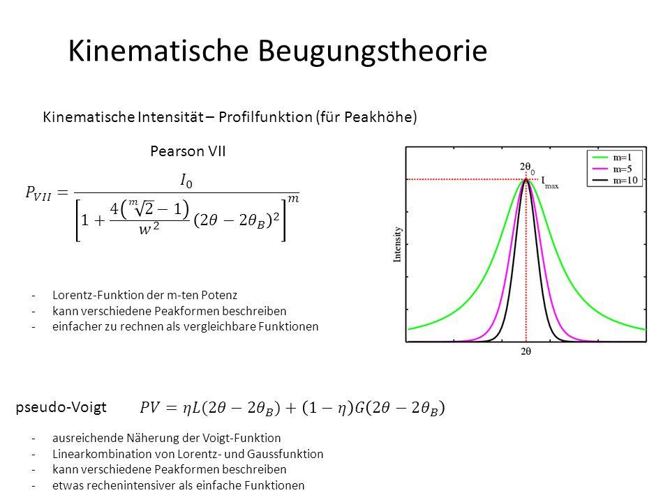 Kinematische Beugungstheorie Kinematische Intensität – Profilfunktion (für Peakhöhe) pseudo-Voigt Pearson VII -Lorentz-Funktion der m-ten Potenz -kann verschiedene Peakformen beschreiben -einfacher zu rechnen als vergleichbare Funktionen -ausreichende Näherung der Voigt-Funktion -Linearkombination von Lorentz- und Gaussfunktion -kann verschiedene Peakformen beschreiben -etwas rechenintensiver als einfache Funktionen
