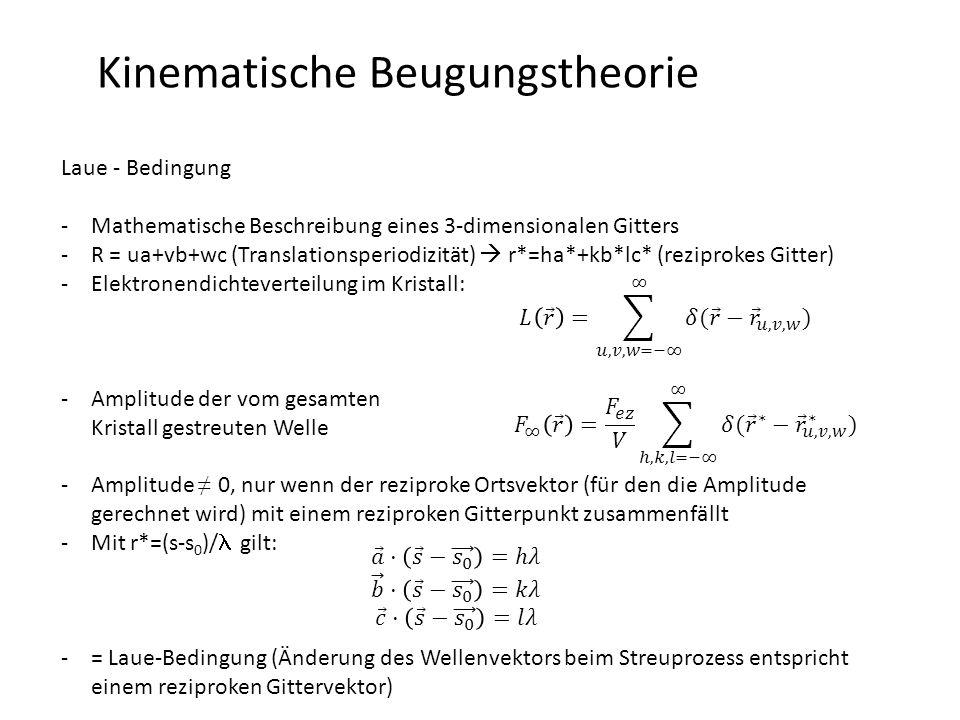 Kinematische Beugungstheorie Laue - Bedingung -Mathematische Beschreibung eines 3-dimensionalen Gitters -R = ua+vb+wc (Translationsperiodizität)  r*=ha*+kb*lc* (reziprokes Gitter) -Elektronendichteverteilung im Kristall: -Amplitude der vom gesamten Kristall gestreuten Welle -Amplitude ≠ 0, nur wenn der reziproke Ortsvektor (für den die Amplitude gerechnet wird) mit einem reziproken Gitterpunkt zusammenfällt -Mit r*=(s-s 0 )/ gilt: -= Laue-Bedingung (Änderung des Wellenvektors beim Streuprozess entspricht einem reziproken Gittervektor)