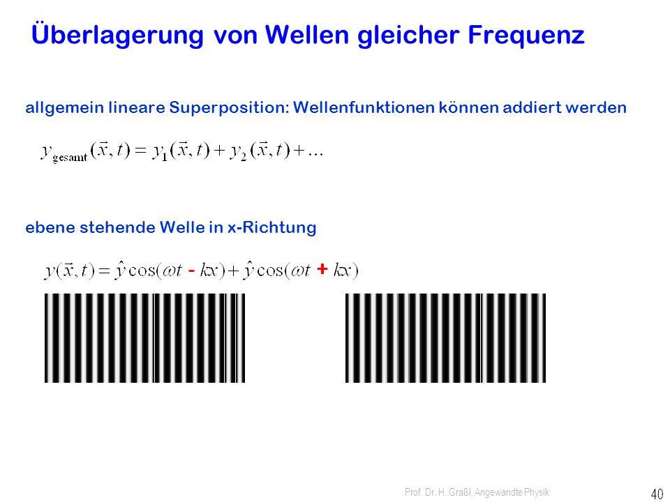 Prof. Dr. H. Graßl, Angewandte Physik 39 Auslenkung ist Funktion von Ort und Zeit: Frequenz f = w/2p Wellenlänge l = 2p/k Wellenzahl k = 2p/l Phasenge