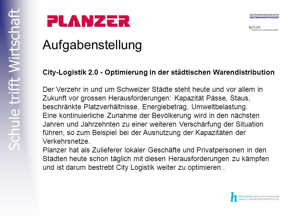 Schule trifft Wirtschaft Aufgabenstellung City-Logistik 2.0 - Optimierung in der städtischen Warendistribution Der Verzehr in und um Schweizer Städte steht heute und vor allem in Zukunft vor grossen Herausforderungen: Kapazität Pässe, Staus, beschränkte Platzverhältnisse, Energiebetrag, Umweltbelastung.