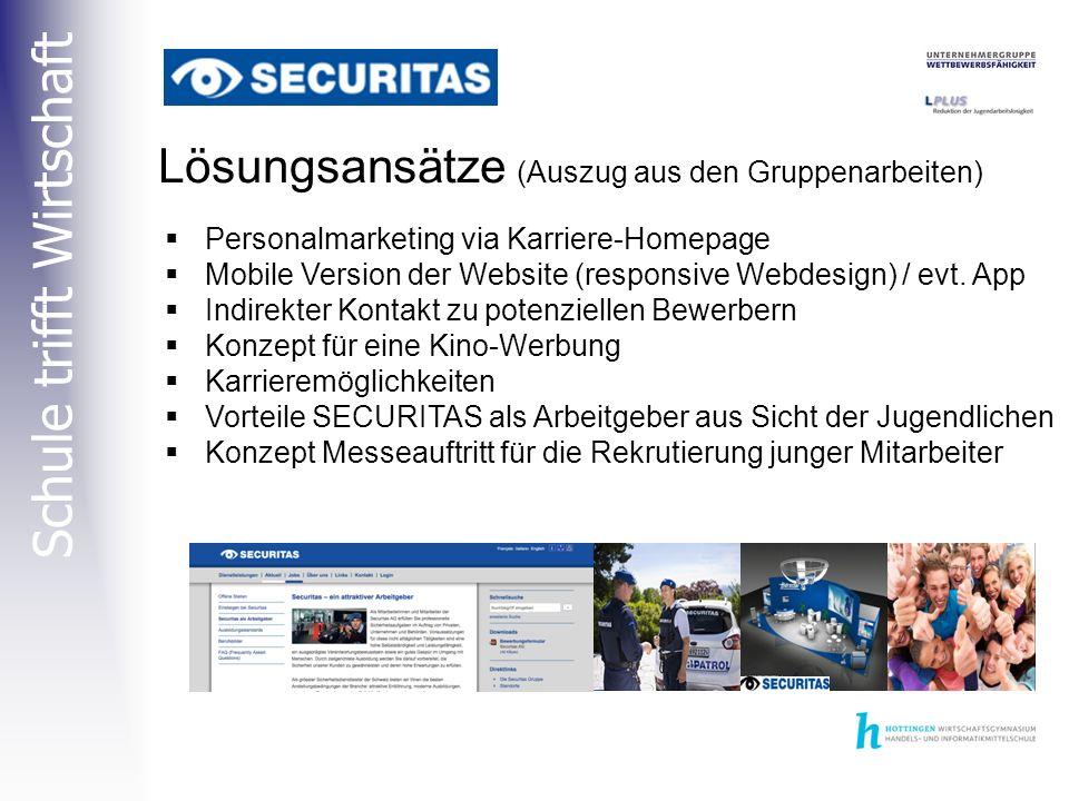 Schule trifft Wirtschaft  Personalmarketing via Karriere-Homepage  Mobile Version der Website (responsive Webdesign) / evt.