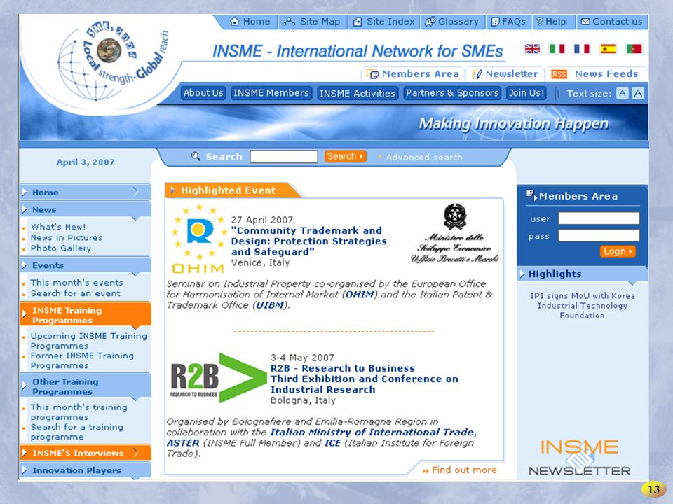 INSME – International Network for SMEs 13