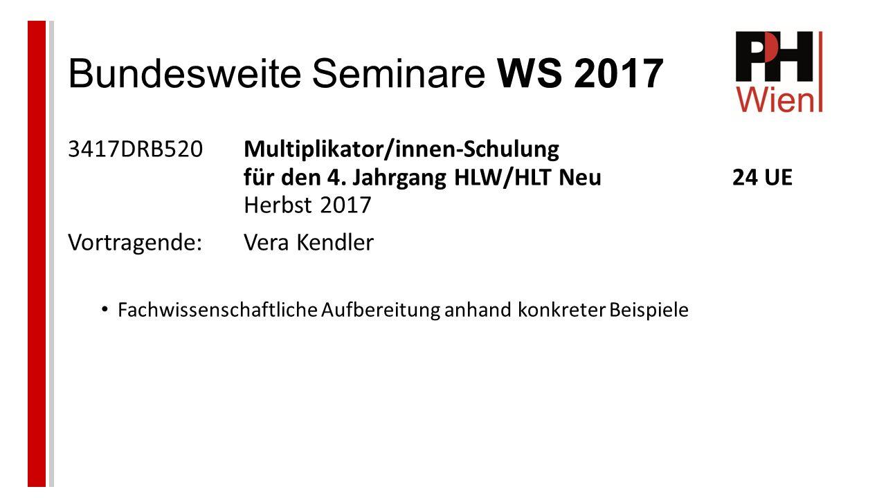 Bundesweite Seminare WS 2017 3417DRB520Multiplikator/innen-Schulung für den 4.