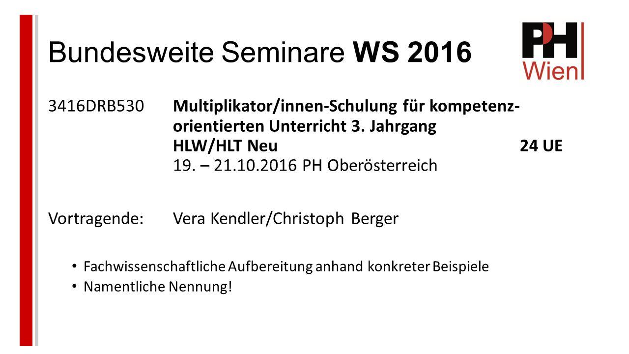 Bundesweite Seminare WS 2016 3416DRB530Multiplikator/innen-Schulung für kompetenz- orientierten Unterricht 3.