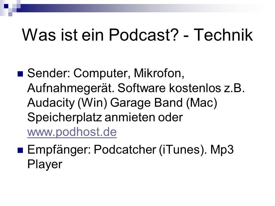 Was ist ein Podcast. - Technik Sender: Computer, Mikrofon, Aufnahmegerät.