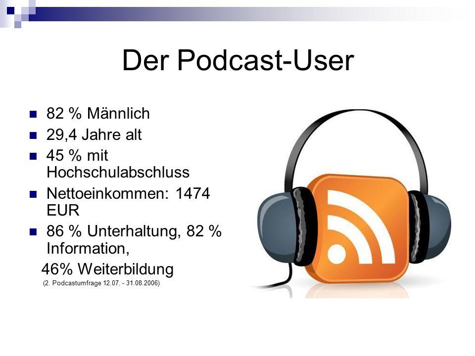 Der Podcast-User 82 % Männlich 29,4 Jahre alt 45 % mit Hochschulabschluss Nettoeinkommen: 1474 EUR 86 % Unterhaltung, 82 % Information, 46% Weiterbildung (2.