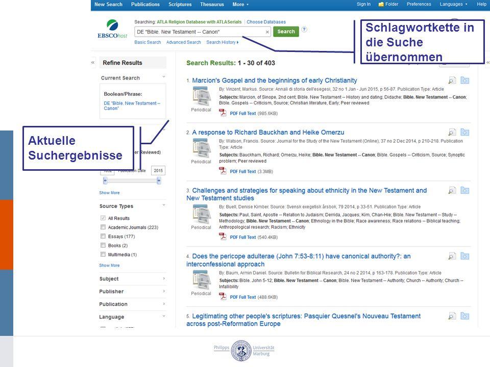 Schlagwortkette in die Suche übernommen Aktuelle Suchergebnisse