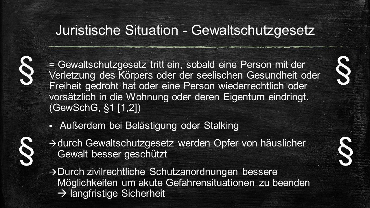 Juristische Situation - Gewaltschutzgesetz = Gewaltschutzgesetz tritt ein, sobald eine Person mit der Verletzung des Körpers oder der seelischen Gesun