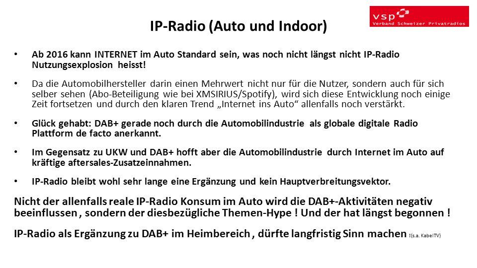 IP-Radio (Auto und Indoor) Ab 2016 kann INTERNET im Auto Standard sein, was noch nicht längst nicht IP-Radio Nutzungsexplosion heisst.