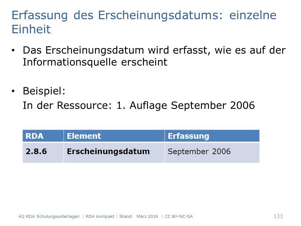 Erfassung des Erscheinungsdatums: einzelne Einheit Das Erscheinungsdatum wird erfasst, wie es auf der Informationsquelle erscheint Beispiel: In der Re