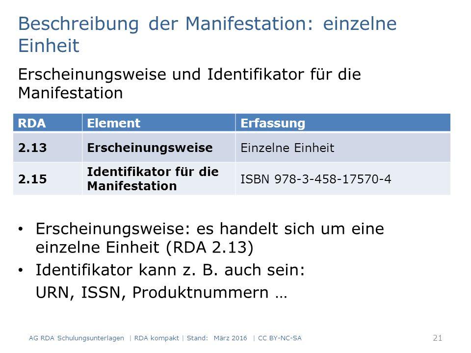 Beschreibung der Manifestation: einzelne Einheit Erscheinungsweise und Identifikator für die Manifestation Erscheinungsweise: es handelt sich um eine einzelne Einheit (RDA 2.13) Identifikator kann z.