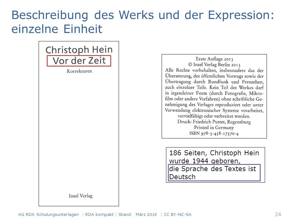 Beschreibung des Werks und der Expression: einzelne Einheit 186 Seiten, Christoph Hein wurde 1944 geboren, die Sprache des Textes ist Deutsch 24 AG RDA Schulungsunterlagen | RDA kompakt | Stand: März 2016 | CC BY-NC-SA