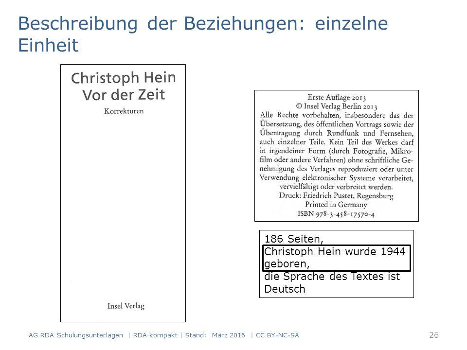 186 Seiten, Christoph Hein wurde 1944 geboren, die Sprache des Textes ist Deutsch Beschreibung der Beziehungen: einzelne Einheit 26 AG RDA Schulungsun
