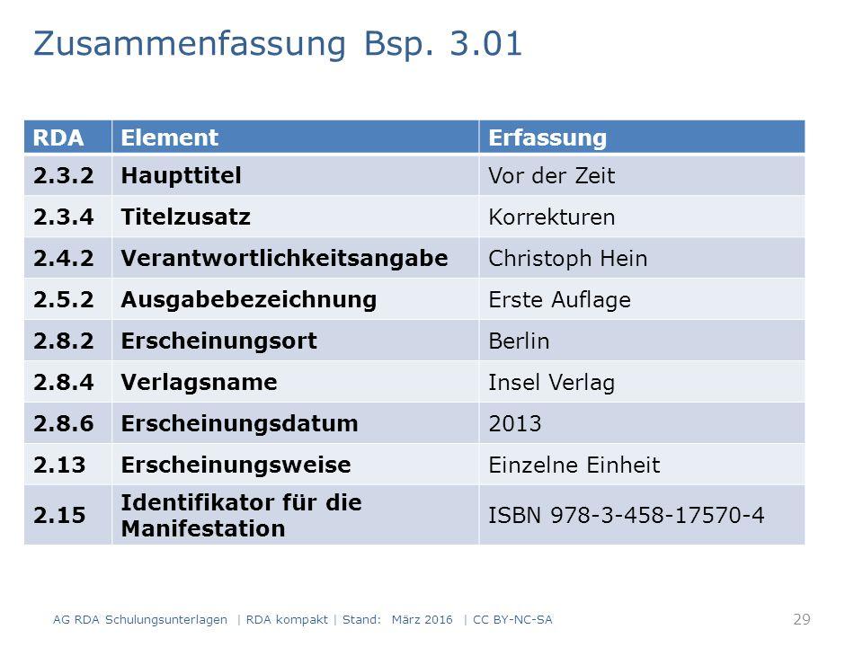 Zusammenfassung Bsp. 3.01 RDAElementErfassung 2.3.2HaupttitelVor der Zeit 2.3.4TitelzusatzKorrekturen 2.4.2VerantwortlichkeitsangabeChristoph Hein 2.5