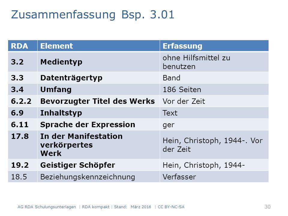 RDAElementErfassung 3.2Medientyp ohne Hilfsmittel zu benutzen 3.3DatenträgertypBand 3.4Umfang186 Seiten 6.2.2Bevorzugter Titel des WerksVor der Zeit 6.9InhaltstypText 6.11Sprache der Expressionger 17.8 In der Manifestation verkörpertes Werk Hein, Christoph, 1944-.