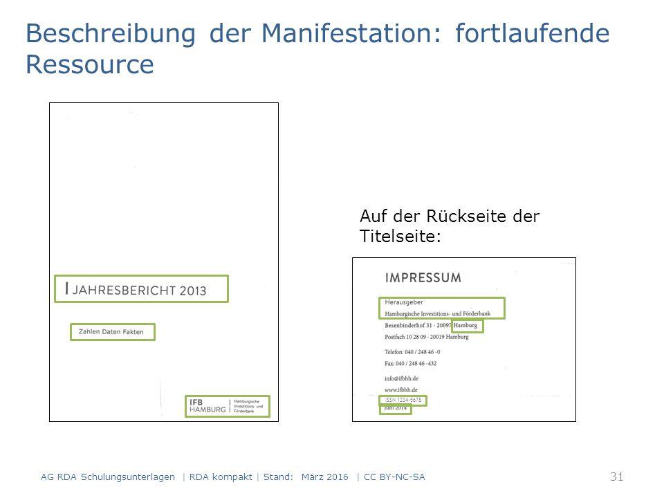 Beschreibung der Manifestation: fortlaufende Ressource Auf der Rückseite der Titelseite: ISSN 1234-5678 31 AG RDA Schulungsunterlagen | RDA kompakt |