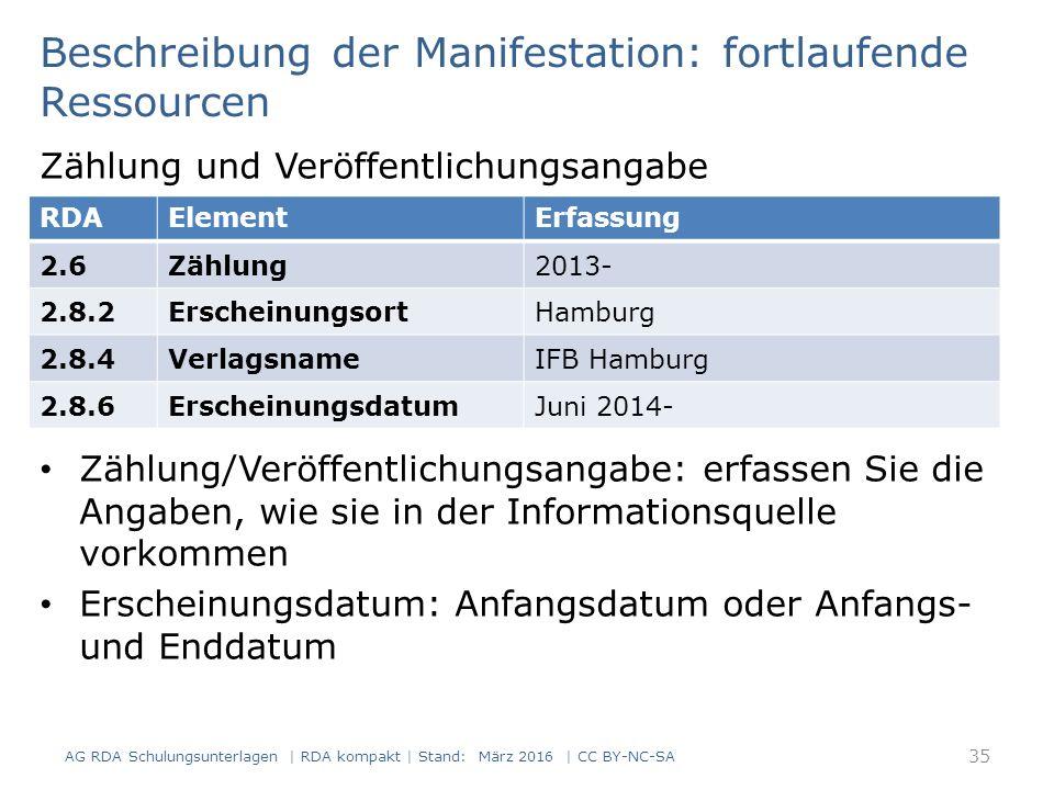 Beschreibung der Manifestation: fortlaufende Ressourcen Zählung und Veröffentlichungsangabe Zählung/Veröffentlichungsangabe: erfassen Sie die Angaben, wie sie in der Informationsquelle vorkommen Erscheinungsdatum: Anfangsdatum oder Anfangs- und Enddatum RDAElementErfassung 2.6Zählung2013- 2.8.2ErscheinungsortHamburg 2.8.4VerlagsnameIFB Hamburg 2.8.6ErscheinungsdatumJuni 2014- 35 AG RDA Schulungsunterlagen | RDA kompakt | Stand: März 2016 | CC BY-NC-SA