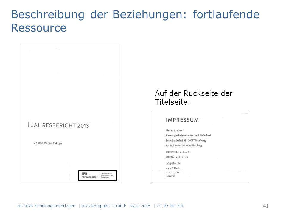 Beschreibung der Beziehungen: fortlaufende Ressource Auf der Rückseite der Titelseite: ISSN 1234-5678 41 AG RDA Schulungsunterlagen | RDA kompakt | Stand: März 2016 | CC BY-NC-SA
