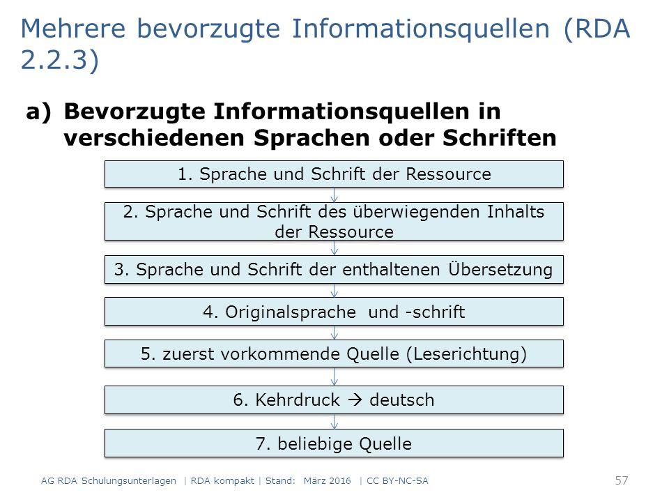 a)Bevorzugte Informationsquellen in verschiedenen Sprachen oder Schriften Mehrere bevorzugte Informationsquellen (RDA 2.2.3) 1. Sprache und Schrift de