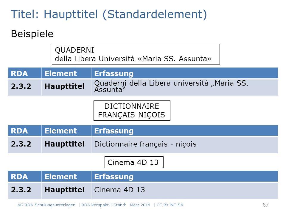 Titel: Haupttitel (Standardelement) Beispiele QUADERNI della Libera Università «Maria SS. Assunta» RDAElementErfassung 2.3.2Haupttitel Quaderni della