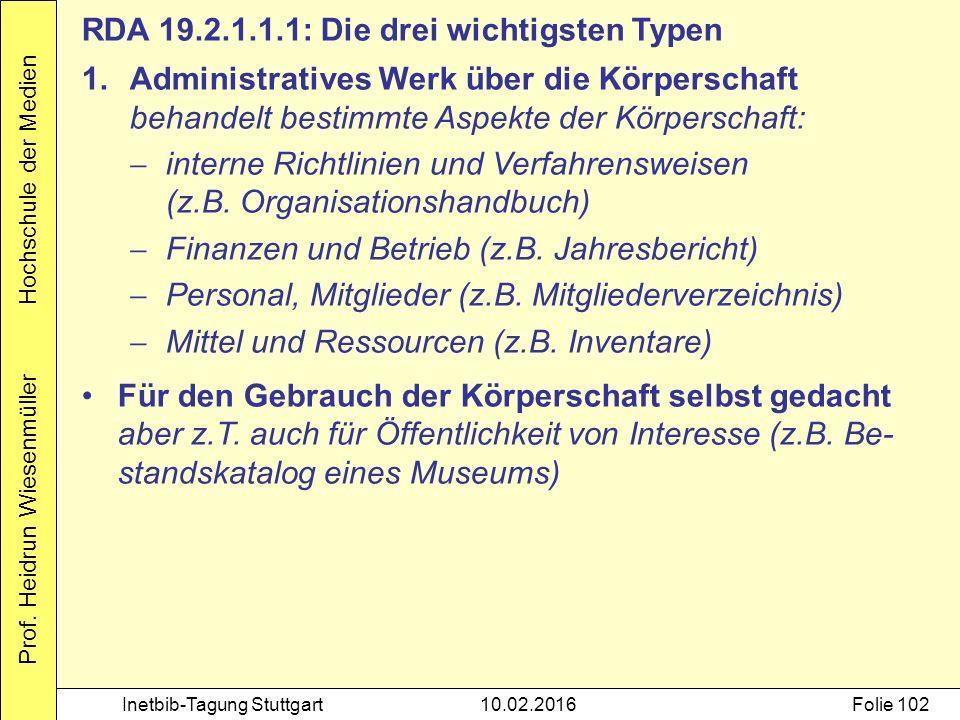 Prof. Heidrun Wiesenmüller Hochschule der Medien Inetbib-Tagung Stuttgart10.02.2016Folie 102 RDA 19.2.1.1.1: Die drei wichtigsten Typen 1.Administrati