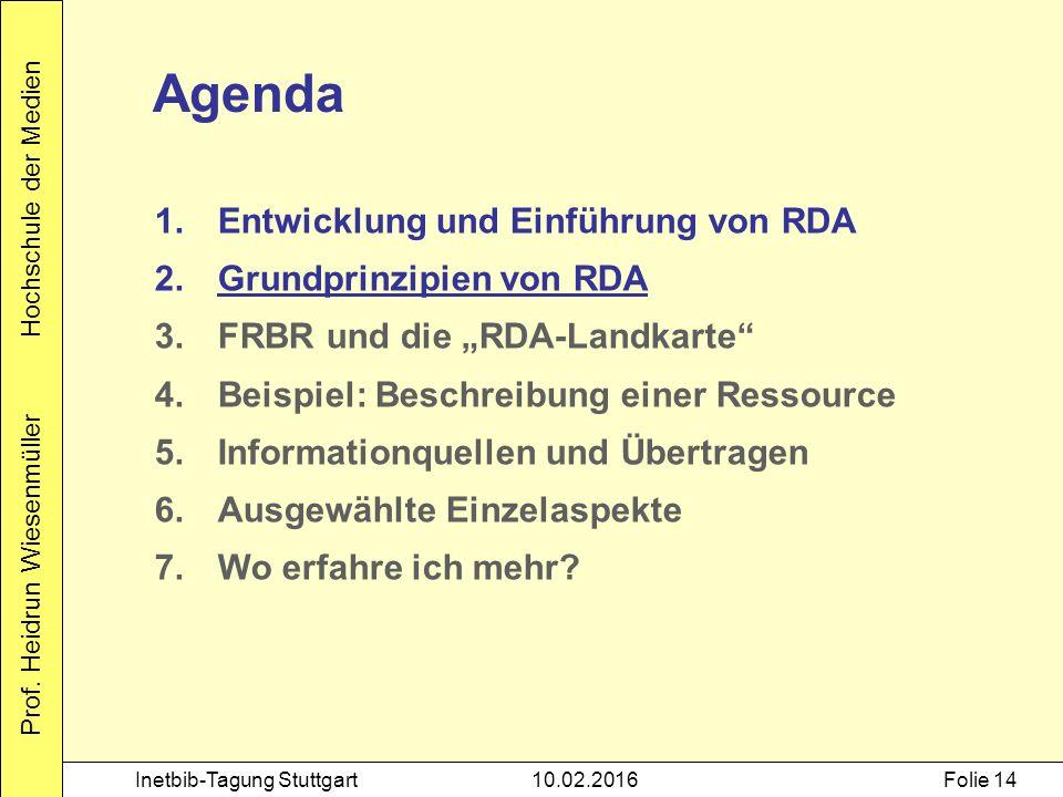 Prof. Heidrun Wiesenmüller Hochschule der Medien Inetbib-Tagung Stuttgart10.02.2016Folie 14 Agenda 1.Entwicklung und Einführung von RDA 2.Grundprinzip