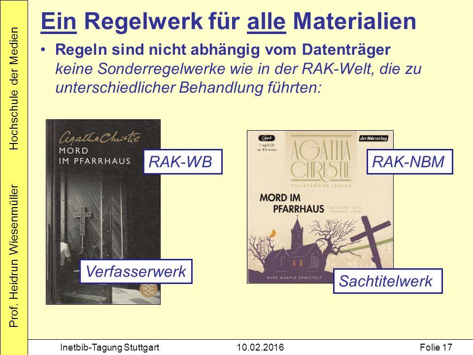 Prof. Heidrun Wiesenmüller Hochschule der Medien Inetbib-Tagung Stuttgart10.02.2016Folie 17 Ein Regelwerk für alle Materialien Regeln sind nicht abhän