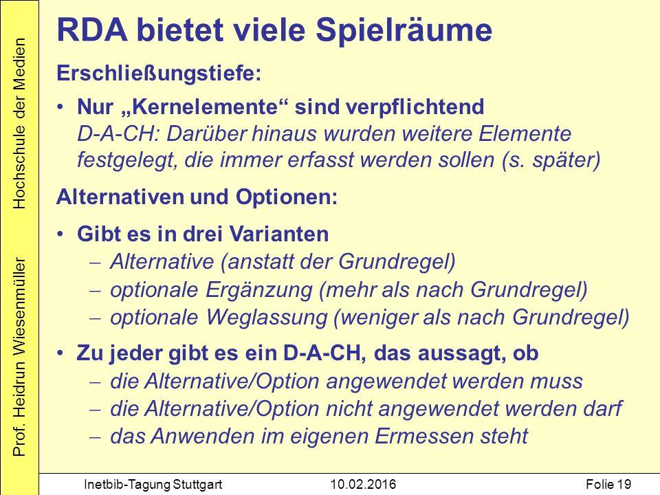 """Prof. Heidrun Wiesenmüller Hochschule der Medien Inetbib-Tagung Stuttgart10.02.2016Folie 19 RDA bietet viele Spielräume Erschließungstiefe: Nur """"Kerne"""