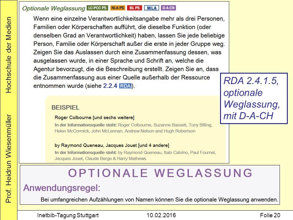 Prof. Heidrun Wiesenmüller Hochschule der Medien Inetbib-Tagung Stuttgart10.02.2016Folie 20 RDA 2.4.1.5, optionale Weglassung, mit D-A-CH