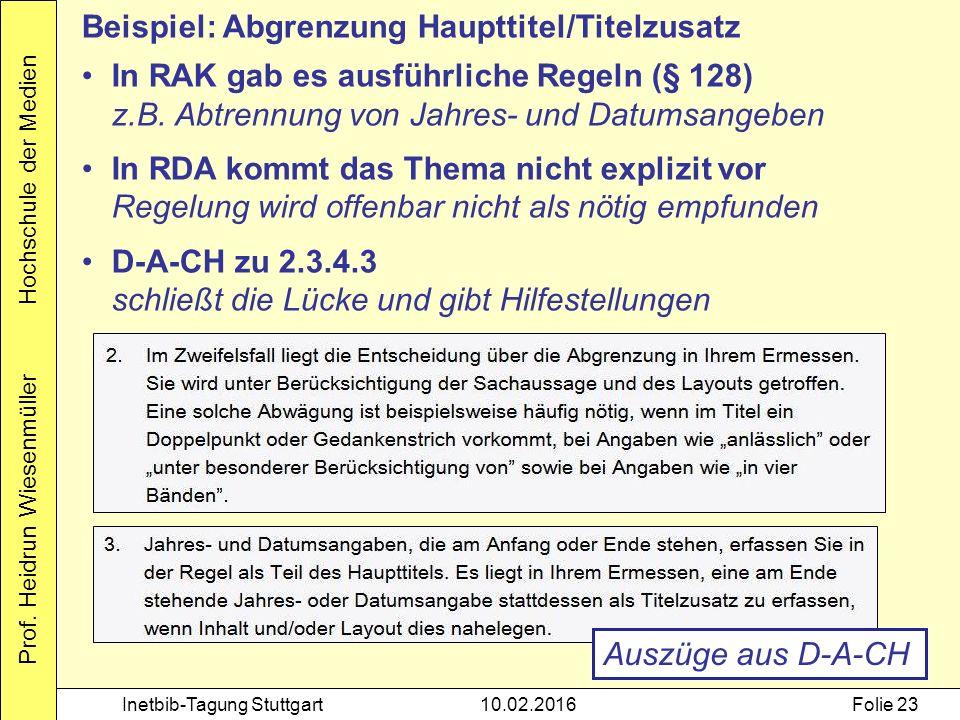 Prof. Heidrun Wiesenmüller Hochschule der Medien Inetbib-Tagung Stuttgart10.02.2016Folie 23 Beispiel: Abgrenzung Haupttitel/Titelzusatz In RAK gab es