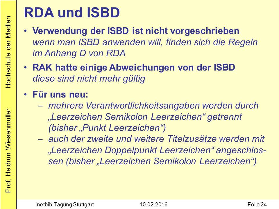 Prof. Heidrun Wiesenmüller Hochschule der Medien Inetbib-Tagung Stuttgart10.02.2016Folie 24 RDA und ISBD Verwendung der ISBD ist nicht vorgeschrieben