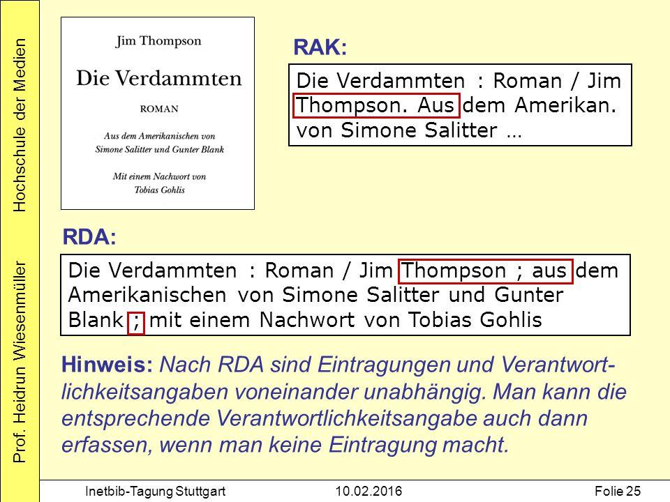 Prof. Heidrun Wiesenmüller Hochschule der Medien Inetbib-Tagung Stuttgart10.02.2016Folie 25 Die Verdammten : Roman / Jim Thompson. Aus dem Amerikan. v
