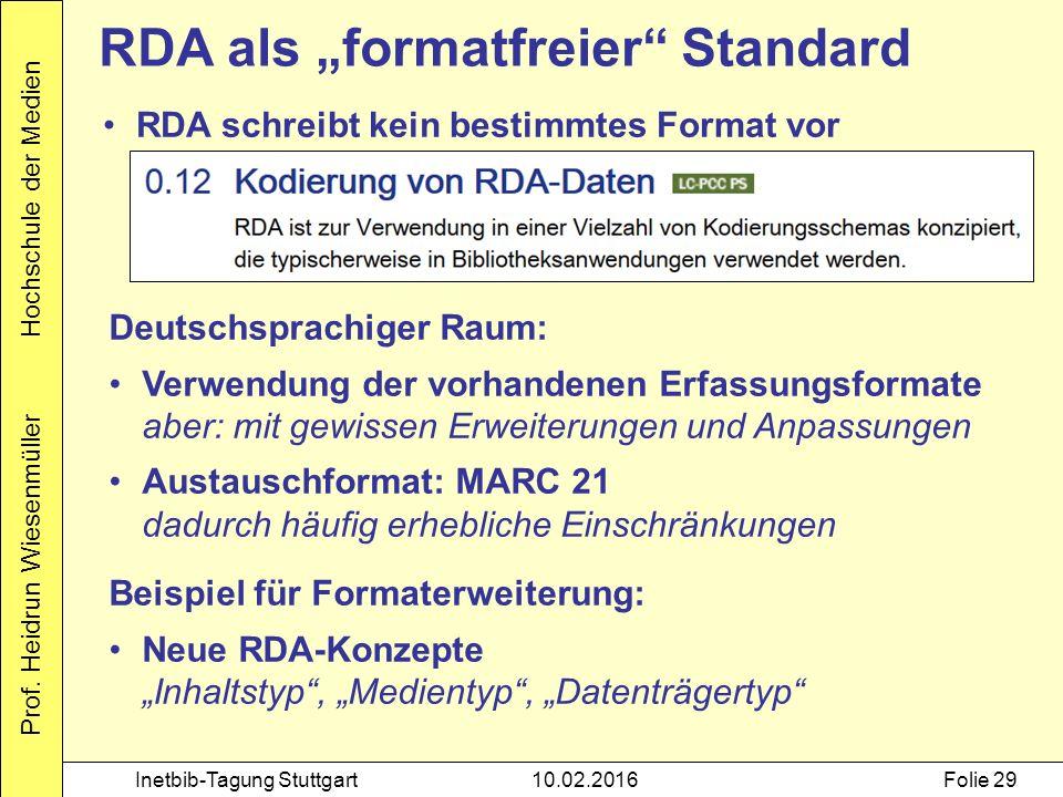 """Prof. Heidrun Wiesenmüller Hochschule der Medien Inetbib-Tagung Stuttgart10.02.2016Folie 29 RDA als """"formatfreier"""" Standard RDA schreibt kein bestimmt"""