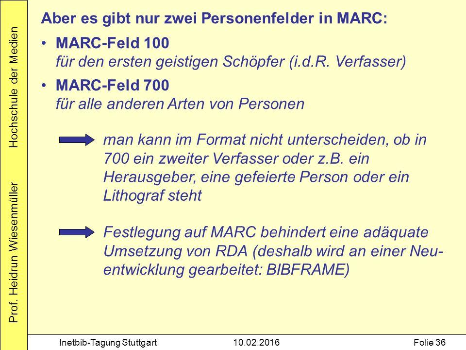 Prof. Heidrun Wiesenmüller Hochschule der Medien Inetbib-Tagung Stuttgart10.02.2016Folie 36 Aber es gibt nur zwei Personenfelder in MARC: MARC-Feld 10