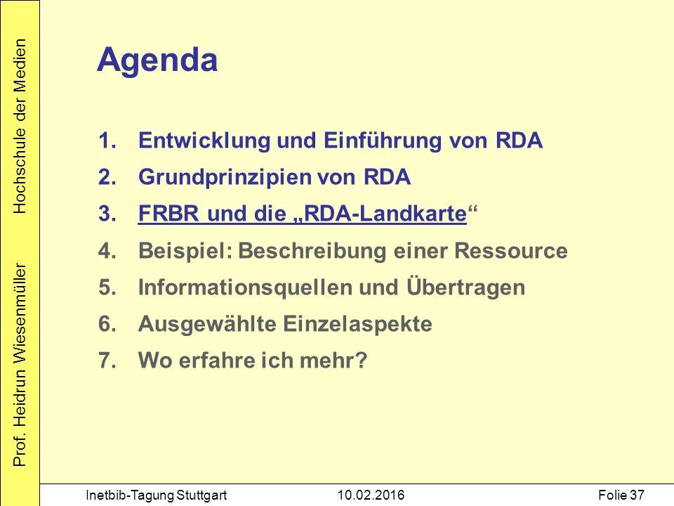 Prof. Heidrun Wiesenmüller Hochschule der Medien Inetbib-Tagung Stuttgart10.02.2016Folie 37 Agenda 1.Entwicklung und Einführung von RDA 2.Grundprinzip