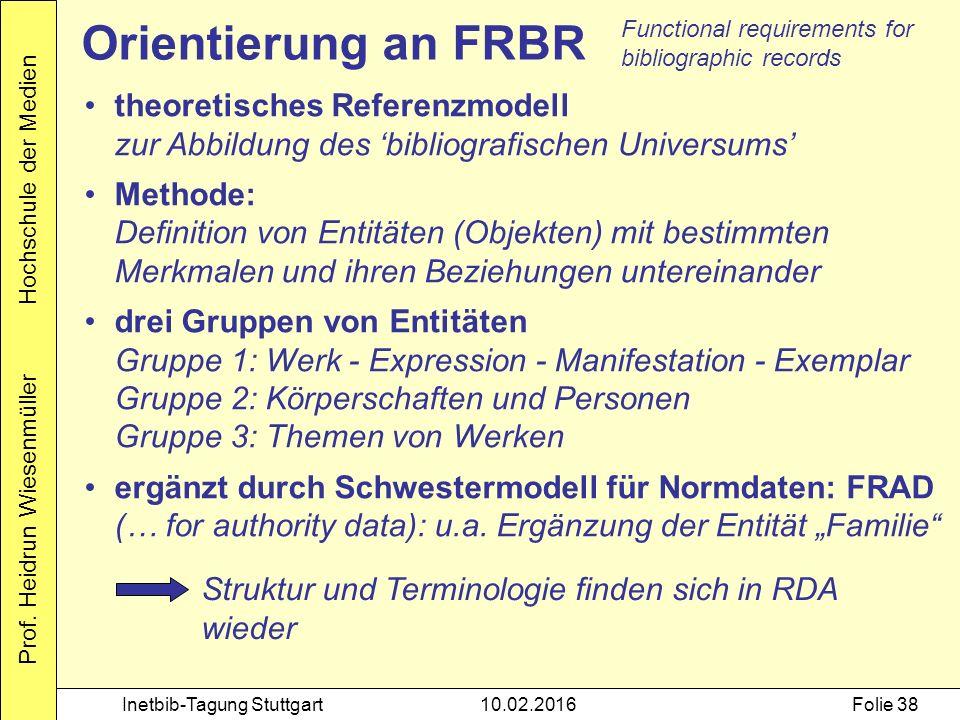 Prof. Heidrun Wiesenmüller Hochschule der Medien Inetbib-Tagung Stuttgart10.02.2016Folie 38 Orientierung an FRBR theoretisches Referenzmodell zur Abbi