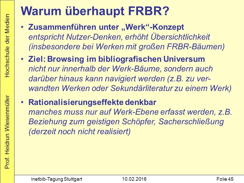 """Prof. Heidrun Wiesenmüller Hochschule der Medien Inetbib-Tagung Stuttgart10.02.2016Folie 45 Warum überhaupt FRBR? Zusammenführen unter """"Werk""""-Konzept"""