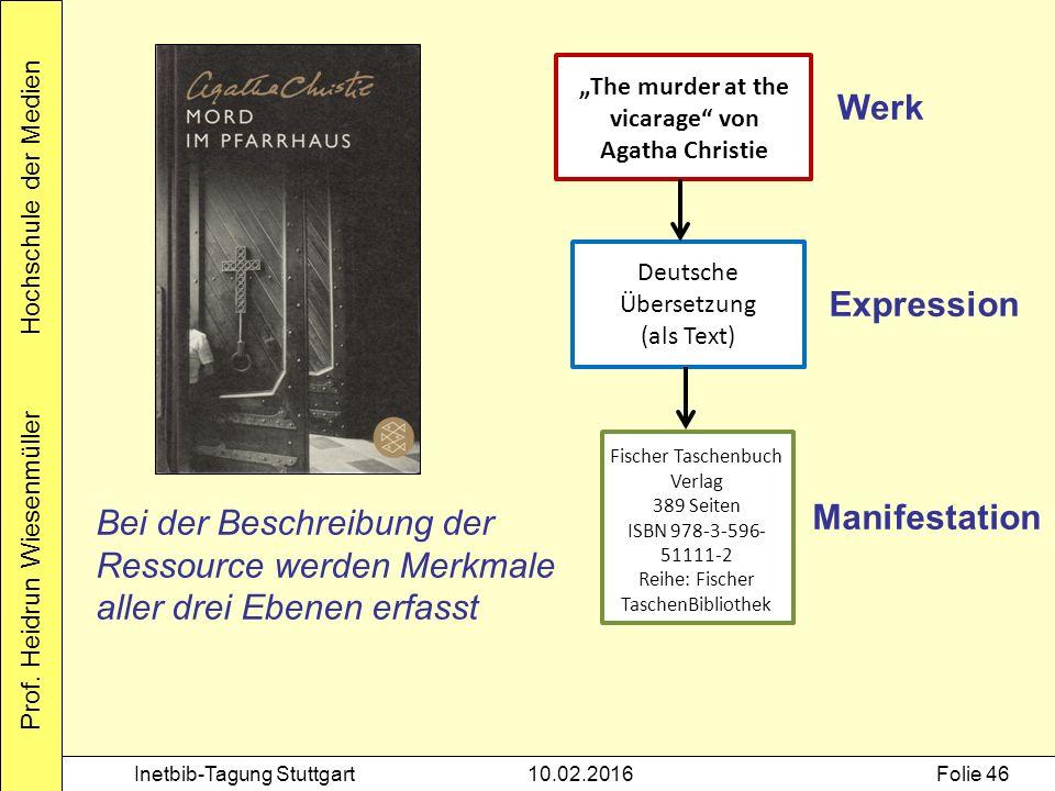 """Prof. Heidrun Wiesenmüller Hochschule der Medien Inetbib-Tagung Stuttgart10.02.2016Folie 46 """"The murder at the vicarage"""" von Agatha Christie Deutsche"""