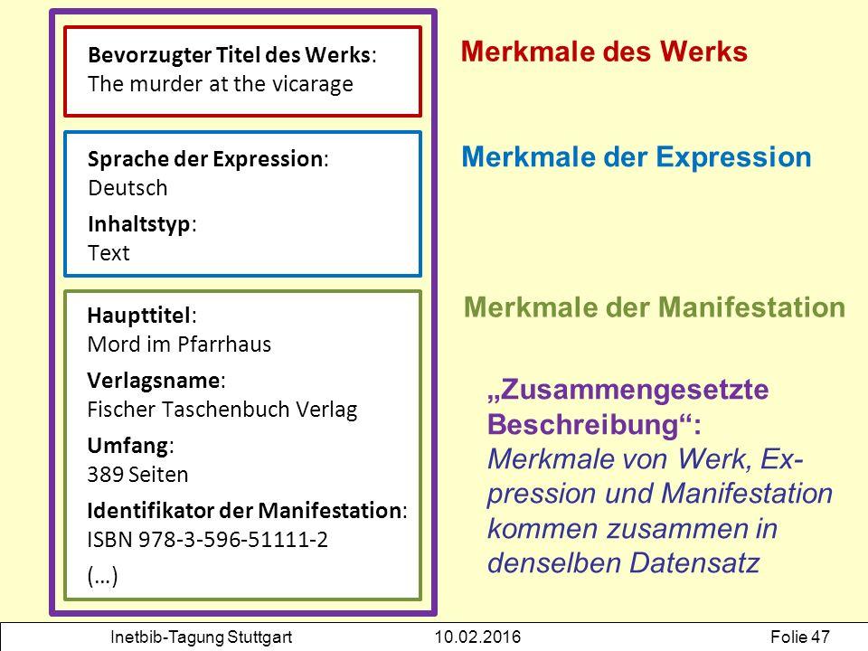 Inetbib-Tagung Stuttgart10.02.2016Folie 47 Bevorzugter Titel des Werks: The murder at the vicarage Merkmale des Werks Merkmale der Expression Sprache