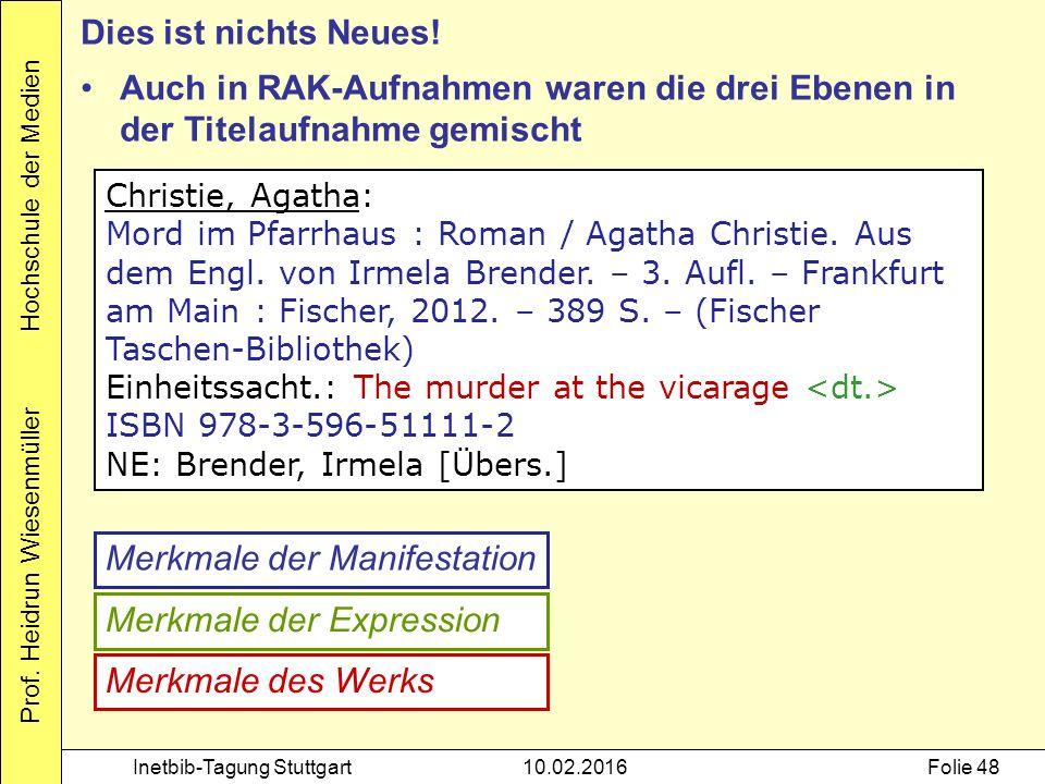 Prof. Heidrun Wiesenmüller Hochschule der Medien Inetbib-Tagung Stuttgart10.02.2016Folie 48 Christie, Agatha: Mord im Pfarrhaus : Roman / Agatha Chris