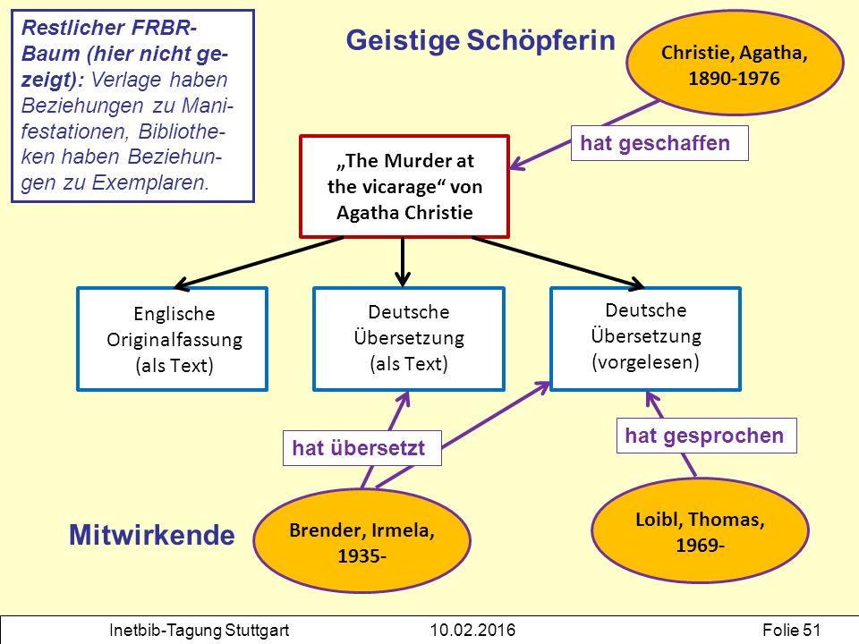 """Inetbib-Tagung Stuttgart10.02.2016Folie 51 """"The Murder at the vicarage"""" von Agatha Christie Englische Originalfassung (als Text) Deutsche Übersetzung"""