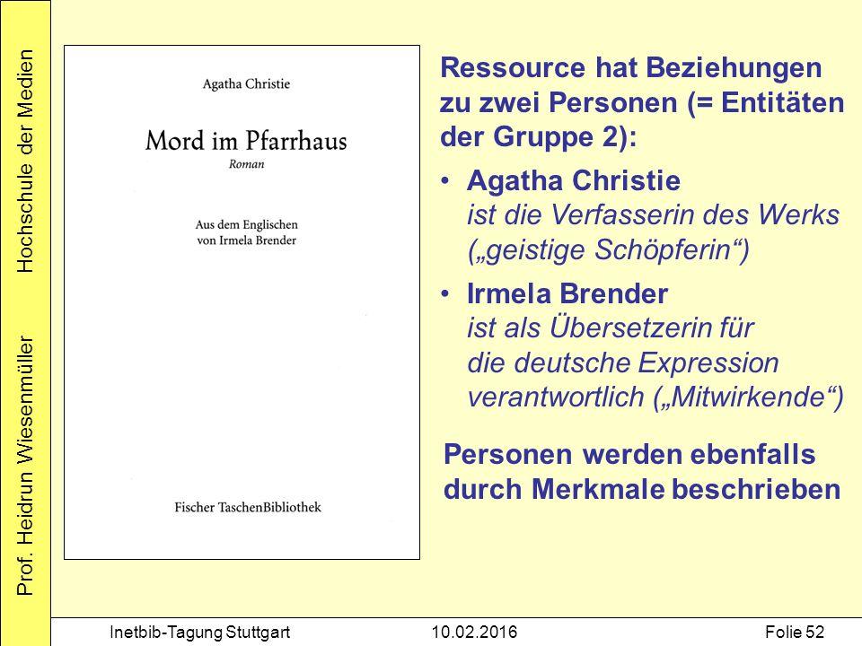 Prof. Heidrun Wiesenmüller Hochschule der Medien Inetbib-Tagung Stuttgart10.02.2016Folie 52 Ressource hat Beziehungen zu zwei Personen (= Entitäten de