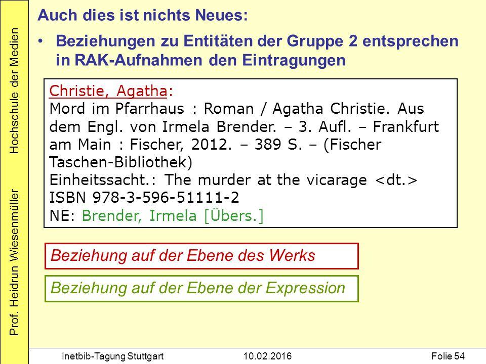 Prof. Heidrun Wiesenmüller Hochschule der Medien Inetbib-Tagung Stuttgart10.02.2016Folie 54 Christie, Agatha: Mord im Pfarrhaus : Roman / Agatha Chris