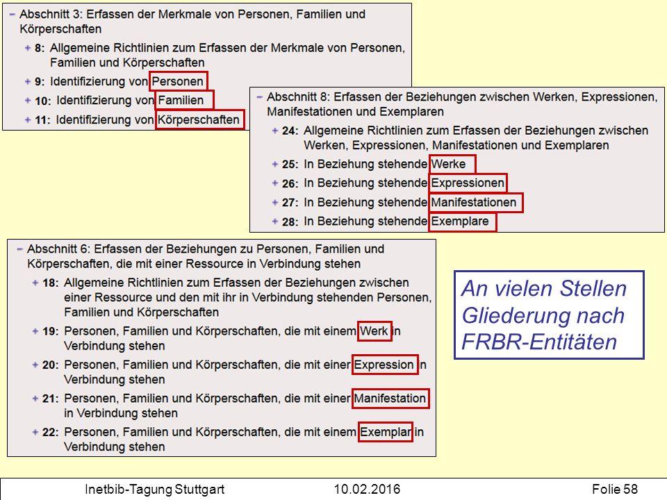 Inetbib-Tagung Stuttgart10.02.2016Folie 58 An vielen Stellen Gliederung nach FRBR-Entitäten