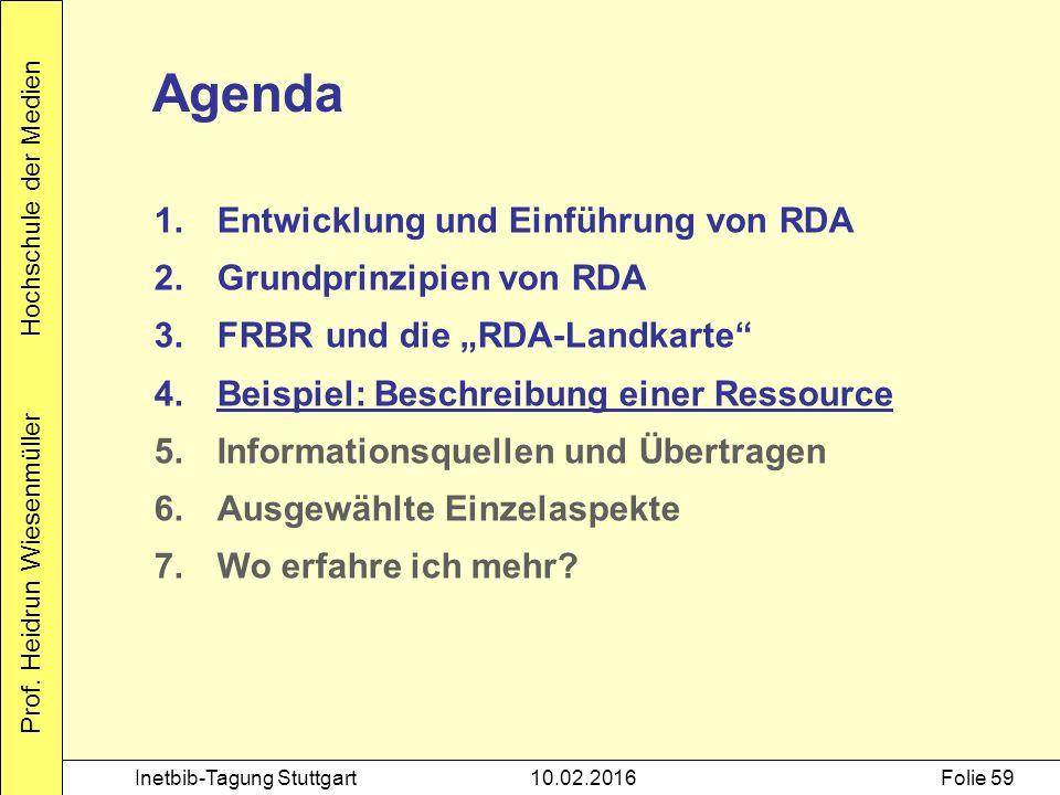 Prof. Heidrun Wiesenmüller Hochschule der Medien Inetbib-Tagung Stuttgart10.02.2016Folie 59 Agenda 1.Entwicklung und Einführung von RDA 2.Grundprinzip