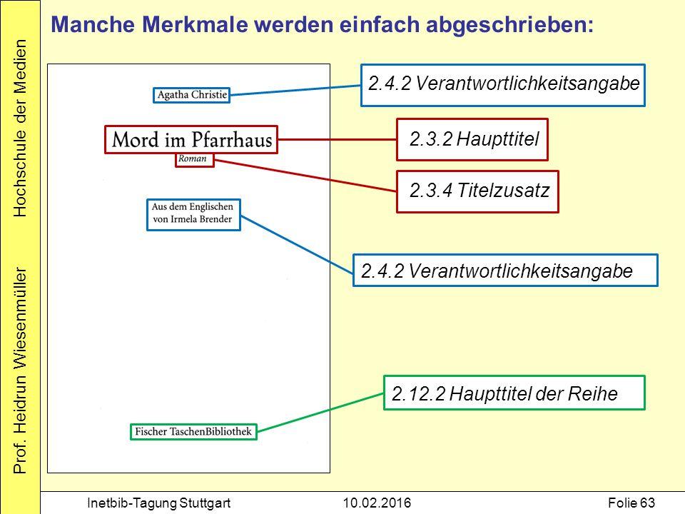 Prof. Heidrun Wiesenmüller Hochschule der Medien Inetbib-Tagung Stuttgart10.02.2016Folie 63 2.3.2 Haupttitel 2.3.4 Titelzusatz 2.4.2 Verantwortlichkei