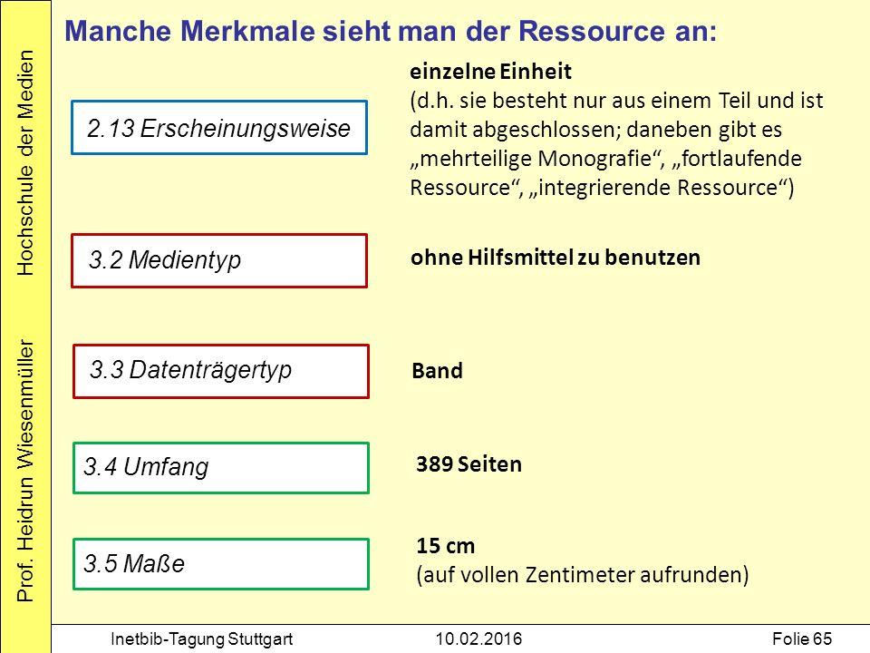 Prof. Heidrun Wiesenmüller Hochschule der Medien Inetbib-Tagung Stuttgart10.02.2016Folie 65 Manche Merkmale sieht man der Ressource an: 2.13 Erscheinu