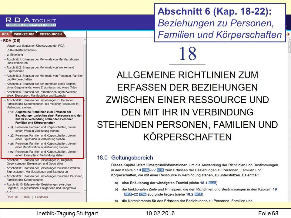 Inetbib-Tagung Stuttgart10.02.2016Folie 68 Abschnitt 6 (Kap. 18-22): Beziehungen zu Personen, Familien und Körperschaften