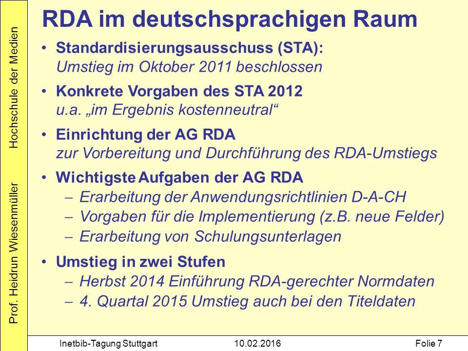 Prof. Heidrun Wiesenmüller Hochschule der Medien Inetbib-Tagung Stuttgart10.02.2016Folie 7 RDA im deutschsprachigen Raum Standardisierungsausschuss (S